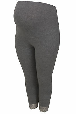Womens Bump It Up Maternity Charcoal Cropped Leggings With Comfort Panel And Lac