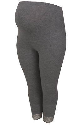 Women's Plus Size Bump It Up Maternity Charcoal Cropped Leggings With Comfort Pa