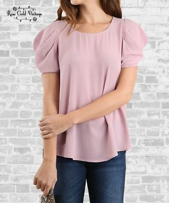 NWT Boutique Umgee Ruffle Sleeve Blouse M /& L S Dusty Peach