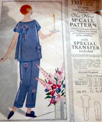 RARE VTG 1920s EMBROIDERED PAJAMAS McCALL Sewing Pattern BUST 36-38