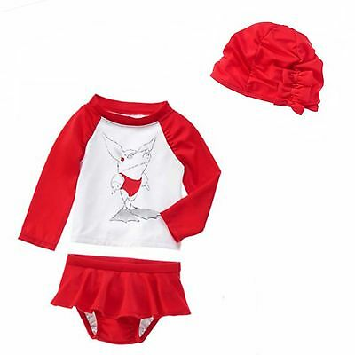 18 24 M Gymboree OLIVIA Rashguard Swim Bathing CAP Skirted Suit Baby Girl NWT