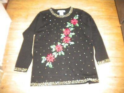 Ladies sz M Christmas sweater Ohi brand ramie cotton embroidered and beaded