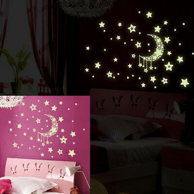 Wall Stickers Glow In The Dark Star Sticker Moon Decal Kids Room Home Decor DIY