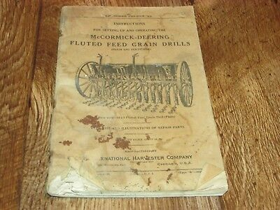 Vintage McCormick Deering Fluted Feed Grain Drills Operating Instructions Book,
