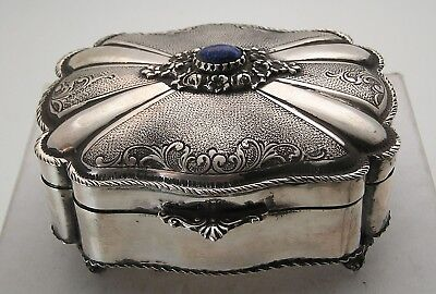 """European Sterling 800 Silver Repoussé & Chased Engraved Footed Box 4.25"""" by 3.5"""""""