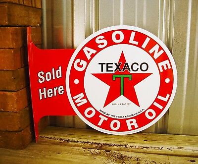 Texaco Motor Oil Sold Flange Metal Tin Sign Large Vintage Style Garage Man Cave