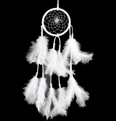 Handmade Dream White Feather Catcher Car Wall Hanging Home Decor Ornament Gift
