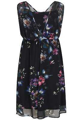 Womens Sleeveless Layered Mesh Dress With Floral Print, Plus Size 16 To 32