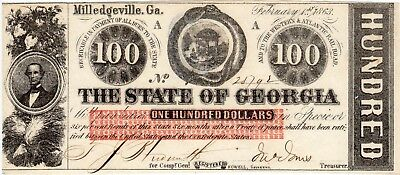 1863 $100 MILLEDGEVILLE The State of Georgia.  Rattler! Criswell-6.  Crisp Unc!