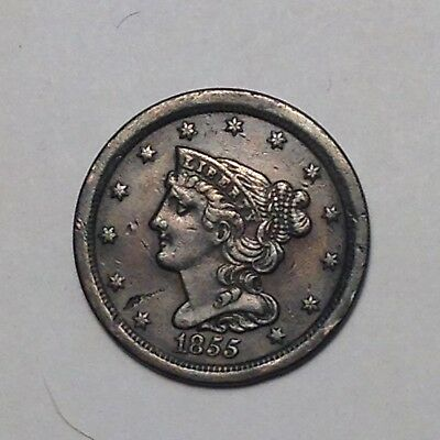 1855 Half Cent Braided Hair. Bold Detail.  Must Take  A Look!