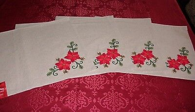 Beige Christmas Poinsettia Placemats, Set of 4, NWT