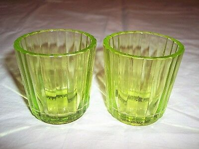 Vintage Vaseline Green Depression Ribbed Votive Candle Holders Set of 2