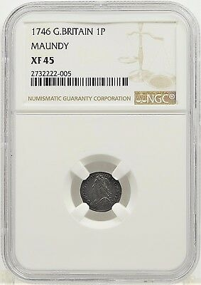 1746 NGC XF45 Great Britain Maundy 1 Pence (b144.38)