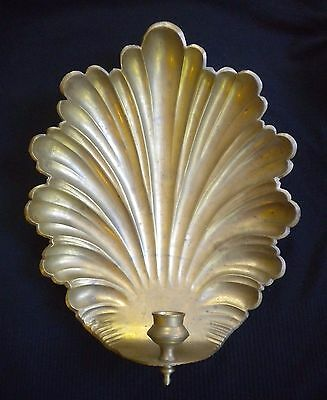 Heavy Mottahedeh Large Vintage Fine Quality Heavy Brass Shell Candle Sconce
