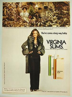 1974 Virginia Slims Cigarettes Vintage Ad Page - Sexy Woman Smoking - Greenhouse