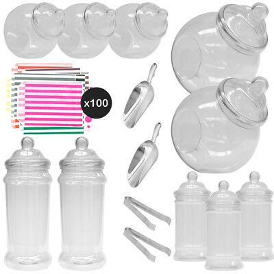 10 Retro Plastic Sweet Jar Candy Buffet Wedding Party Kit Scoops Tongs 100 Bags