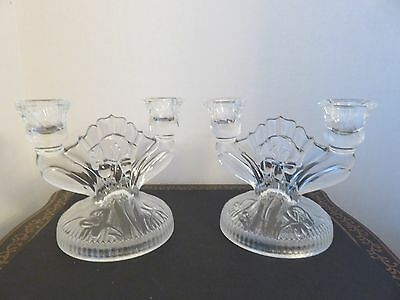 Pair Jeannette Iris & Herringbone Clear Glass Double Candle Stick Holder Vintage