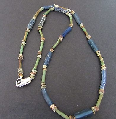 NILE  Ancient Egyptian Roman Period Amulet Glass Necklace ca 100 BC