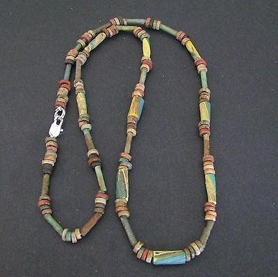 NILE  Ancient Egyptian Mosaic Mummy Bead Necklace ca 600 BC