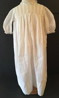 Vintage Victorian White Cotton Long Christening Gown Dress W/ Lace Top