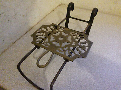 Lovely Antique Brass Sliding Fireside Trivet - 14 X9 Inches