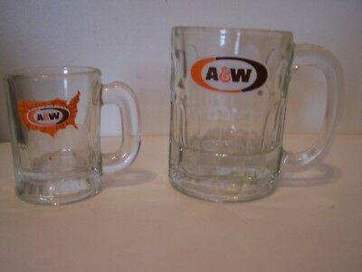 A&W ROOT BEER SET OF 2 GLASS MUGS VINTAGE & IN GREAT CONDITION - Collectable