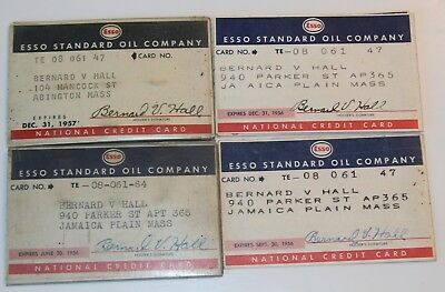 (4) 1956/7 ESSO STANDARD OIL COMPANY Credit Cards and ID