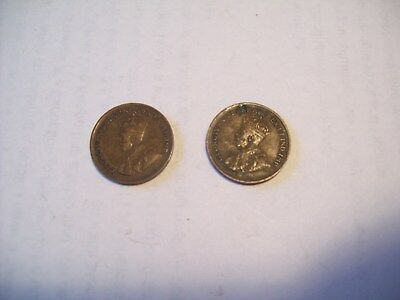 Canada 1 Cent Coins 1929 & 1934