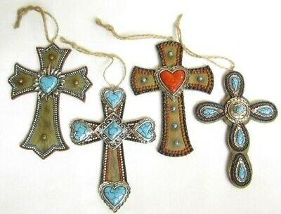 Western Crosses Bright SW Design Christmas Ornaments - Set of 4 -#1 New