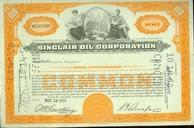 Sinclair Oil Stock Certificate 1950