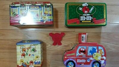 M&M Chocolates Candy Tin Collectible Lot 4 Metal Canisters + 1 Cookie Cutter