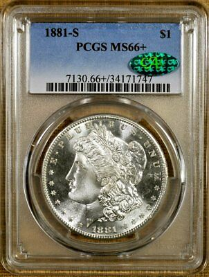 1881-S PCGS MS66+ Morgan Dollar - 100% White - CAC Stickered