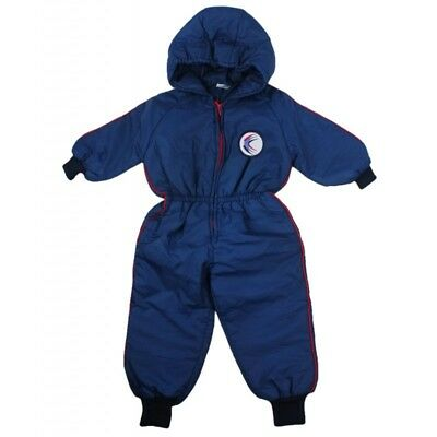 VINTAGE 1970's UNUSED BOYS NAVY BLUE THICK PADDED PRAM SNOWSUIT AGE 6-12 MONTHS