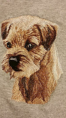 Embroidered Ladies Short-Sleeved T-Shirt - Border Terrier BT3415