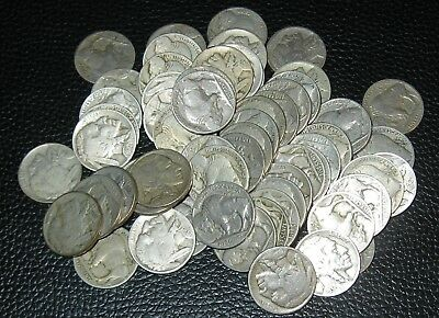 60 MIXED BUFFALO NICKELS, Full and Part Date
