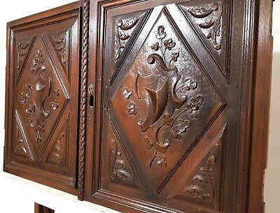 Pair Cabinet Panel Door Antique French Carved Wood Gothic Salvaged Furniture