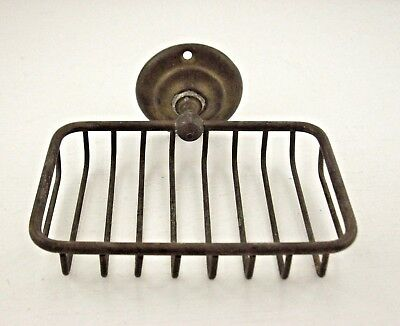 VINTAGE Primitive ANTIQUE? BRASS WIRE Bathroom SOAP DISH Holder WALL MOUNT NiCe!