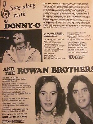 Donny Osmond, Rowan Brothers, Full Page Vintage Clipping, Osmonds Brothers