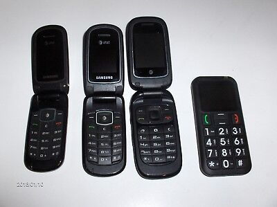 Vintage 4 Used Cell Phone Lot No Chargers Selling As Is For Parts Out Of Estate