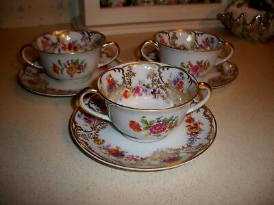 "Vintage Royal Bayreuth "" Vienne"" Handled Soup Cups and Saucers [3 sets]"