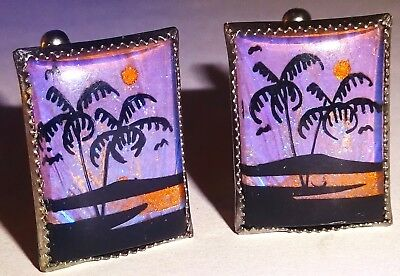 EXCEPTIONAL PAIR of EARLY Vintage BUTTERFLY WING CUFFLINKS w/PALM TREES~LOT #31!