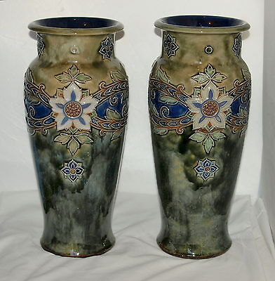 Pair Of Large 14 Inch Royal Doulton Vases By Maud Bowden 47500