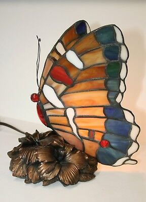 Tiffany Style Colorful Butterfly Shaped Stained Glass Table Lamp Flower Base