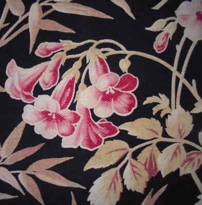 BEAUTIFUL 19th CENTURY FRENCH LINEN & COTTON, FLOWERS & BAMBOO c1870