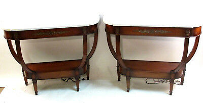 Pair of Regency style marble top console tables