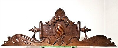 Huge Solid Hand Carved Wood Pediment Antique French Architectural Salvage Crest
