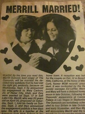 Merrill Osmond, Full Page Vintage Clipping, Osmonds Brothers