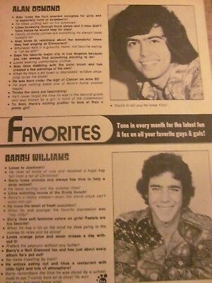 Alan Osmond, Barry Williams, Full Page Vintage Clipping, Osmonds Brothers