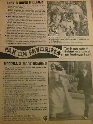 Merrill Osmond, Andy and David Williams, Full Page Vintage Clipping