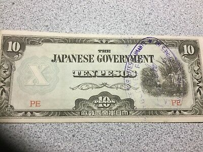 JAPAN OCCUPATIONAL BANKNOTE 10 Pesos, nice condition, stamp on front